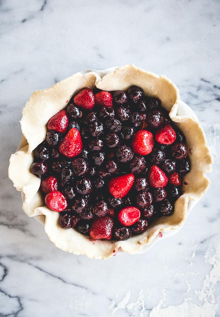 Cherry, Strawberry & Rose Pie // butterlust.com