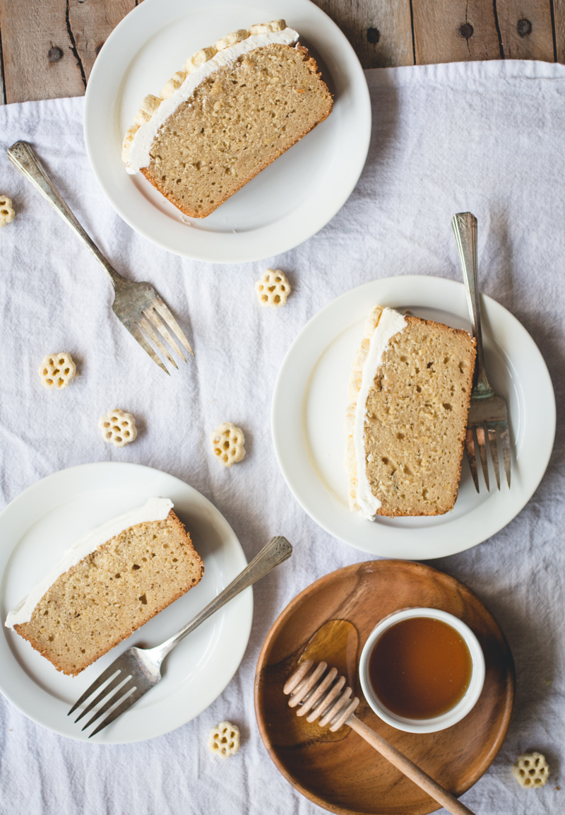 Honeycomb Cereal Pound Cake with Salted Honey Buttercream // butterlust.com @butterlustblog