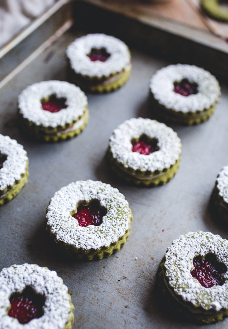 Cranberry & White Chocolate Matcha Shortbread Sandwich Cookies // @butterlustblog