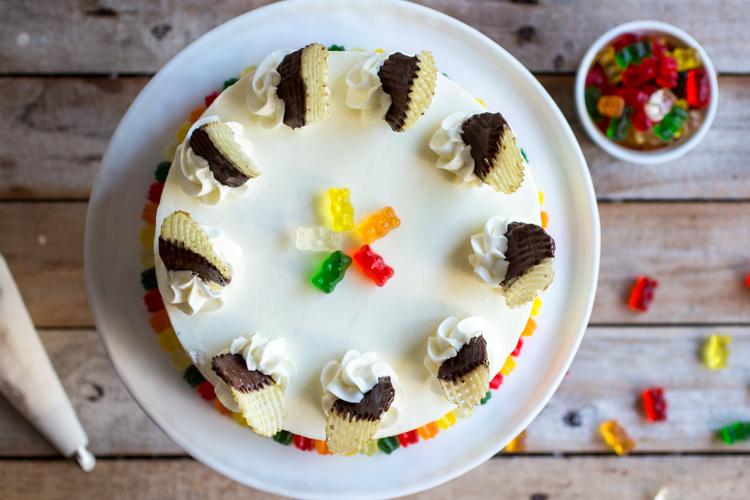 First Grade Lunch Box Cake (Funfetti PB&J + Gummy Bears & Chocolate-Covered Potato Chips!) // butterlust.com @butterlustblog