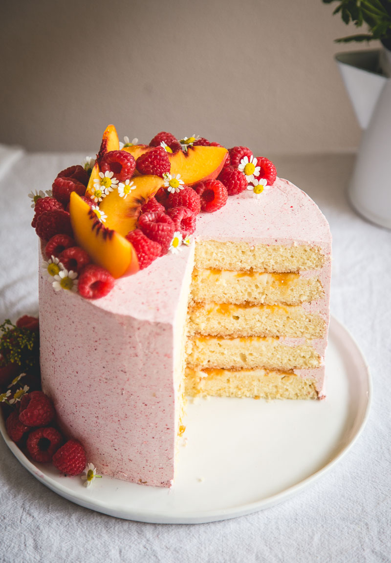 Almond Cake With Lemon Marscapone And Raspberry Buttercream
