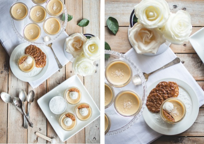 Salted Butterscotch Pots de Crème with Hazelnut-Espresso Lace Cookies // butterlustblog.com