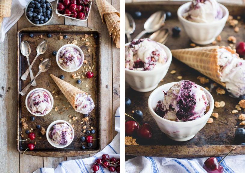 Cherry & Blueberry Crisp Ice Cream made with Jeni's Splendid Ice Cream's base recipe! // @butterlustblog