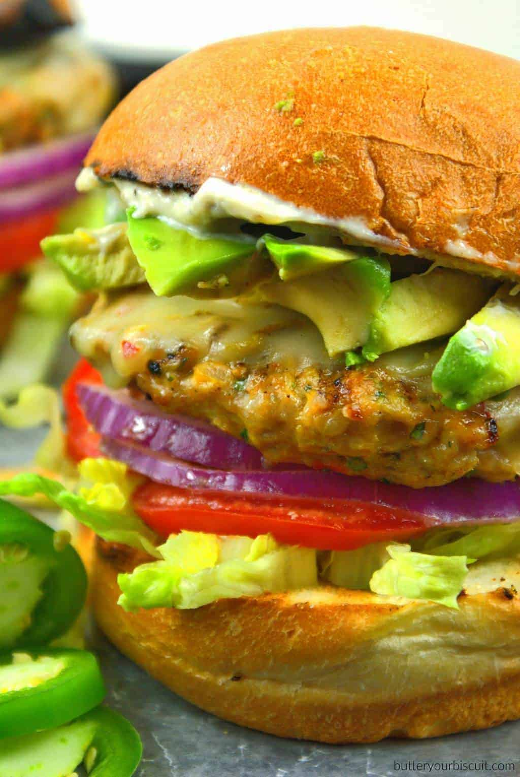 Jalapeno Pepper Jack Chicken Burger with Roasted Garlic Mayo - Butter ...