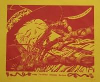 """""""Airza Fore-chun Innemair Molerz""""  linoleum cut  1988"""