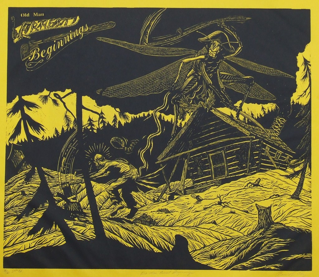 """Old Man Ernest Beginniungs""   linoleum cut  1990"