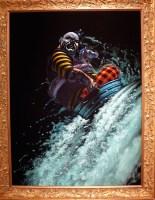 """""""Cascade"""" acrylic & gouache on velvet 40"""" x 30"""" 2008"""
