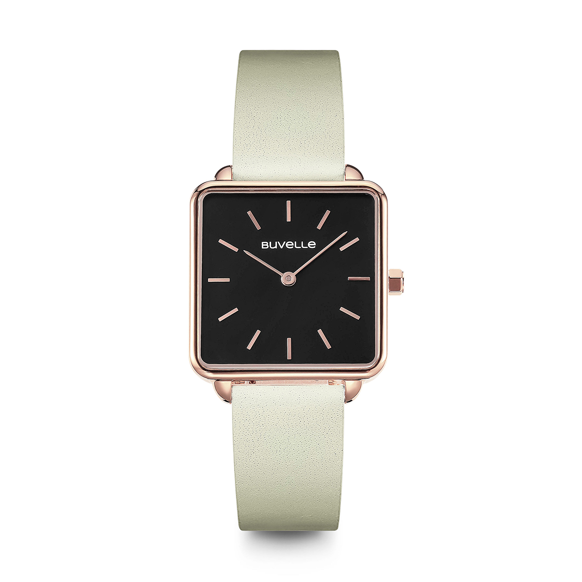 Leather Strap Rose Gold Watch Sophie Rose Gold Black Fine Cream