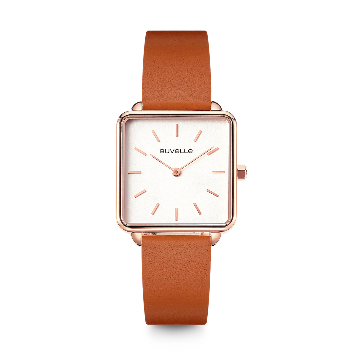 Leather Strap Rose Gold Watch Sophie Rose Gold White Fire