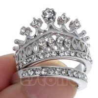 Retro Women White Sapphire Gem Lady Silver Crown Wedding ...