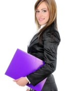 Happy businesswoman bureaucratic buyer