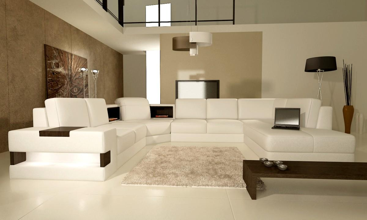 Wohnzimmer In Cream Divani Casa 5021 Modern Bonded Leather Sectional Sofa