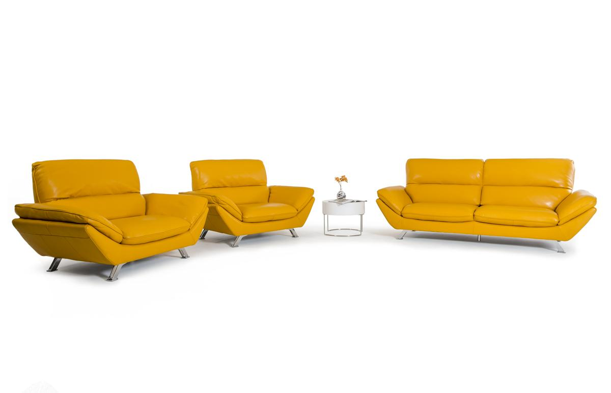 Divani Leather Sofa For Sale Divani Casa Daffodil Modern Yellow Italian Leather Sofa Set