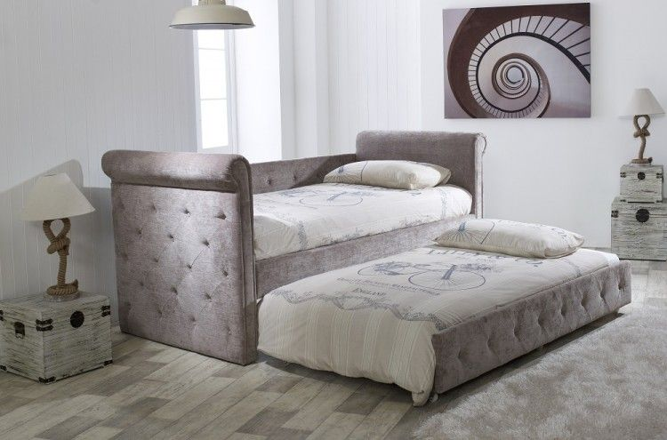 Single Day Bed Limelight Beds Zodiac Mink Fabric Single Day Bed - With
