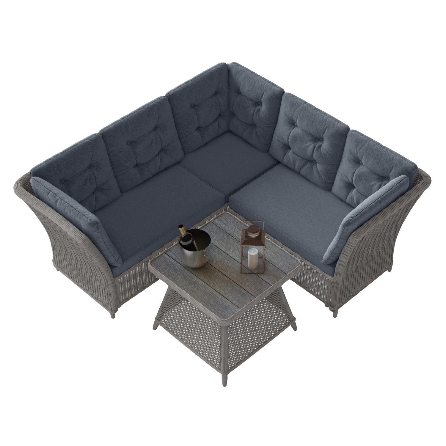 Grey Rattan Corner Sofa And Table Set Aspen Buyitdirect Ie