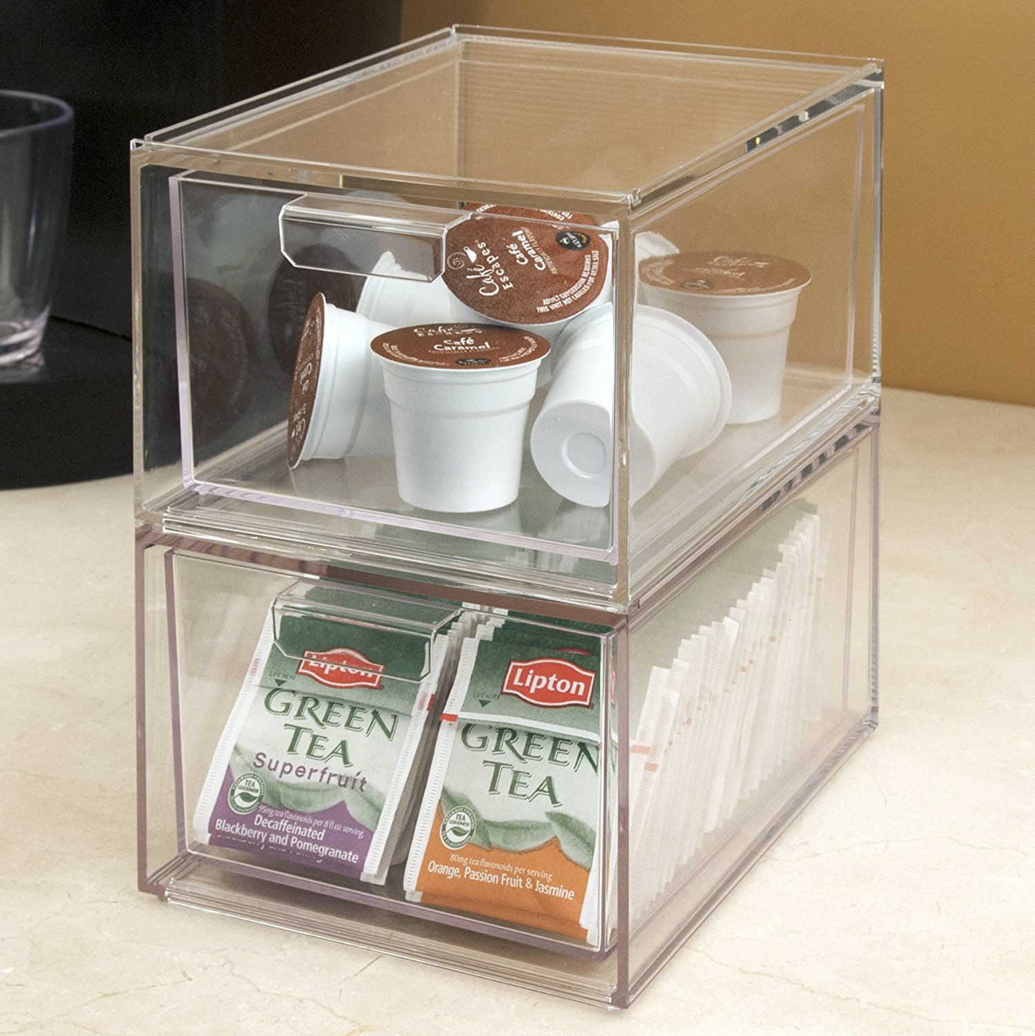 2 Pack Kitchen 2 Pack Stackable Clear Plastic Coffee Pod Holder And Kitchen