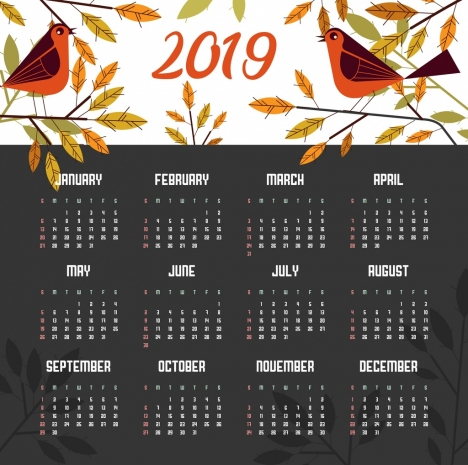 2019 calendar template nature theme birds leaves icons vectors stock