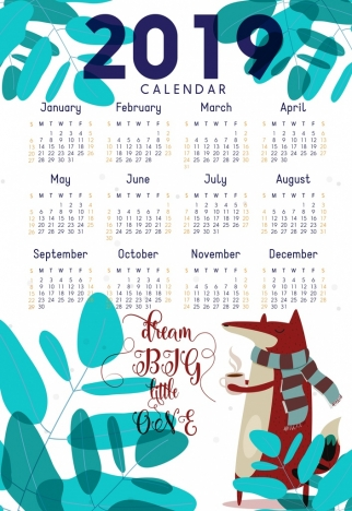 2019 calendar template nature theme fox tree icons vectors stock in