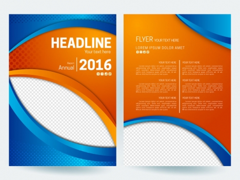 Abstract flyer background with orange and blue color vectors stock