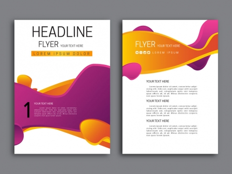 Abstract violet and orange background flyer design vectors stock in