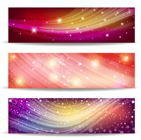 Abstract wave and light banner background vectors stock in format