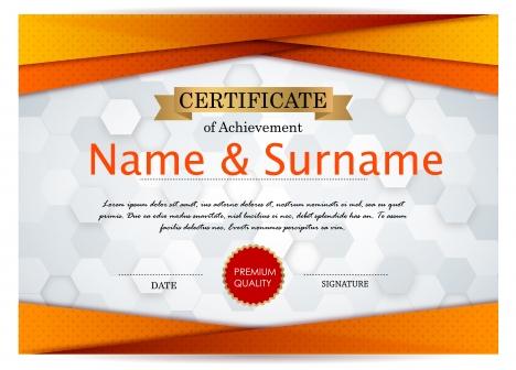 Achievement certificate design with bokeh background vectors stock - certificate design format