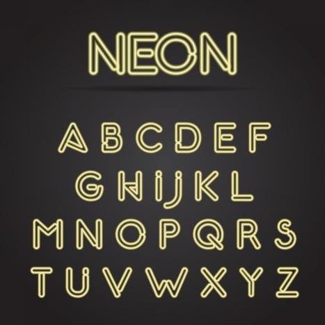 Alphabet neon sign icons yellow capital lettering design vectors - neon lettering