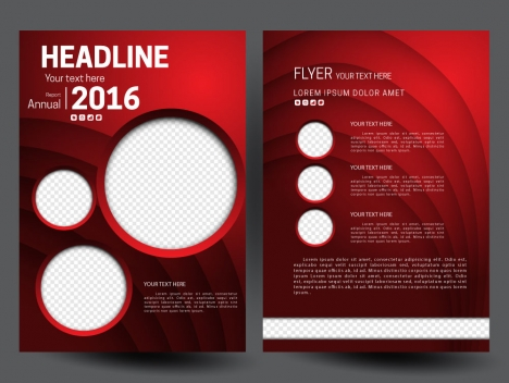 Annual report flyer template on 3d red background vectors stock in
