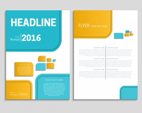 Free flyer brochure report template with modern style design vectors - free annual report templates