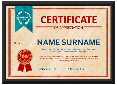 Appreciation certificate design with classical style vectors stock - certificate design format