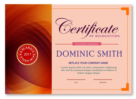 Award certificate design with abstract pink background vectors - certificate design format