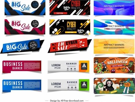 Banner templates halloween abstract sales theme modern design