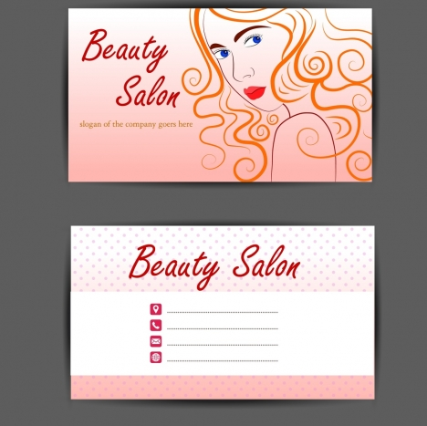 Beauty salon name card template beautiful woman sketch vectors stock - name card format