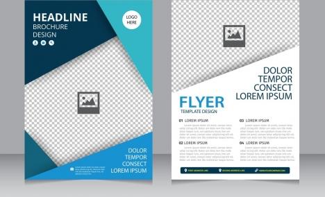 Brochure flyer template bright modern checkered background vectors - flyer template