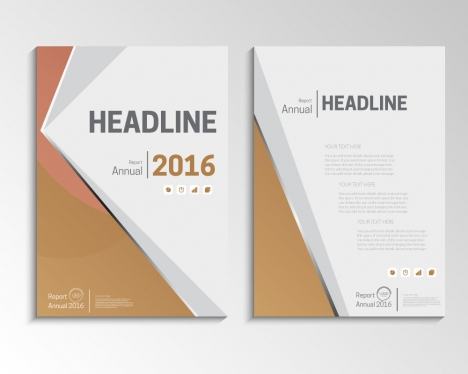 Brown vector annual report brochure template design vectors stock in - annual report template design