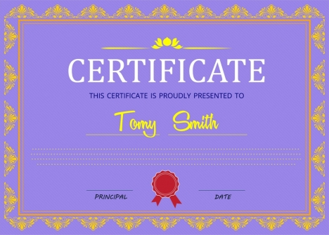 Certificate design with classical border in violet background - certificate design format