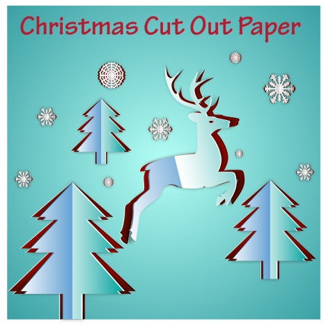 Christmas template design with cut out paper style vectors stock in