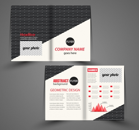 Corporate flyer design with black and white background vectors stock