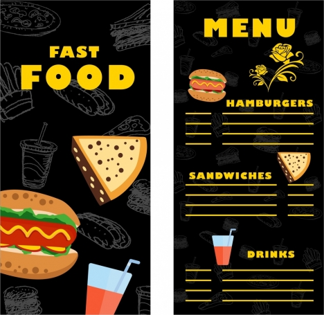 Fast food menu template contrast design on dark vectors stock in - food menu template