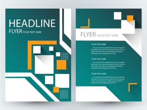 Flyer design with geometric dark green background vectors stock in
