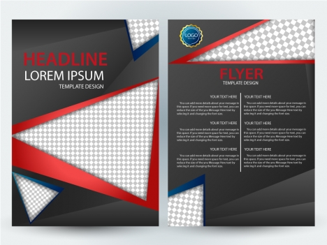 Flyer template design with checkered black background vectors stock - black flyer template