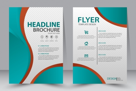 Flyer template design with green curves illustration vectors stock - free design flyer templates