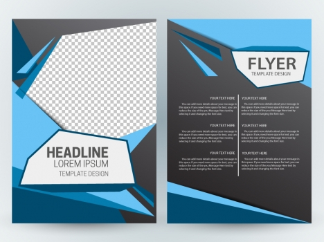 Flyer template design with modern abstract checkered dark background - free design flyer templates