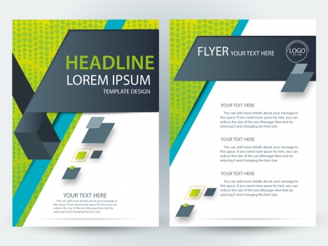 Flyer template design with modern style vectors stock in format for