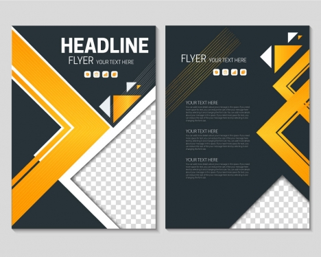 Flyer template on geometric black background vectors stock in format - black flyer template