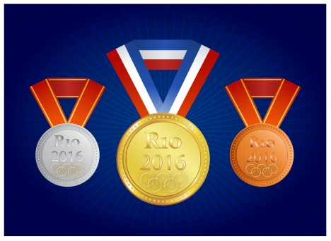 Rio 2016 olympic games banner poster template vectors stock in - gold medal templates