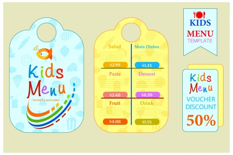 Kids menu sets design with colorful cute styles vectors stock in