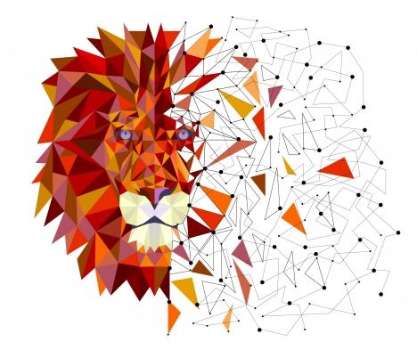 Lion head in geometric design vector vectors stock in format for