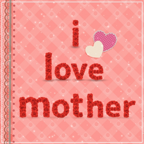 Mother day card design with roses and hearts vectors stock in format