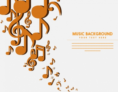Music background flying notes symbol white backdrop vectors stock in
